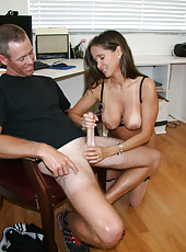 HotWifeRio takes a load of cum all over her tan tits from the moving guy