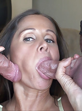HotWifeRio pulls up her tight skirt then takes a big facial from two huge cocks
