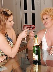 Fake titted granny teaching h lesbian girlfriend