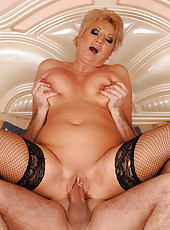 Busty mature Astrids old and wet vagina get fucked