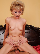 Skinny mature in a naughty scene with a young guy
