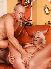 Golden-haired old bitch loves to suck cock