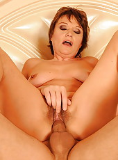 Hairy grandma having juicy sex with a young guy
