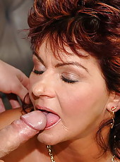 Cocklover redhead granny fucking with young cock