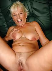 Busty blonde grandma fucking and sucking too