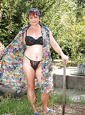 Busty grandma fucking after working in the garden