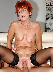 Horny redhead granny fucking with young guy