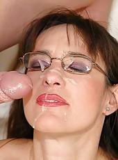 Mature grandma with glasses gets big cock and facial