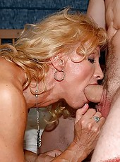 Blond body builder granny screwin with a drunk guy