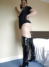 Kinky MILF slut Daniella in ass revealing cop uniform and thigh boots