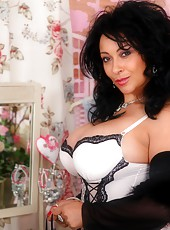 Danica in stunning vintage lingerie and black stockings