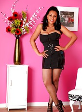 Danica Collins in pantyhose and high heels