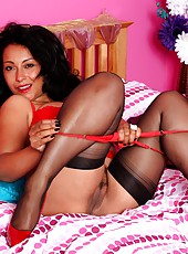 Danica Collins in black stockings, red lingerie and heels