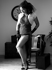 Danica in black and white vintage dress and lingerie