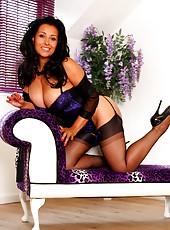 Danica Collins in classy corset, stockings and heels