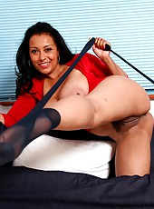 Danica Collins in black pantyhose with no panties