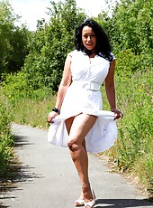 Danica takes a walk in the park and flashes her tits and pussy