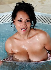 Danica takes off her swimsuit to get nude in a jacuzzi