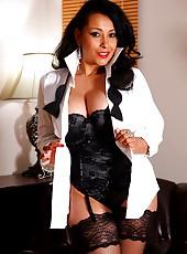 Danica masturbates in fishnets and sexy lingerie