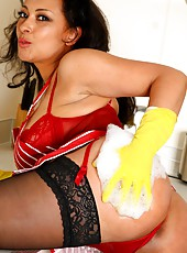 Danica Collins gets wet and messy in rubber gloves and black stockings