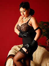 Danica Collins in stockings, heels, gloves and fur stole