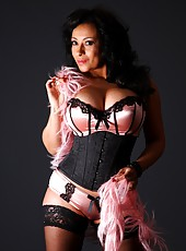 Busty Danica Collins in satin and lace lingerie