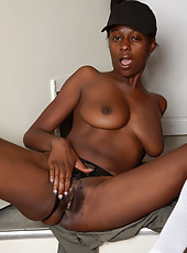30 year old chocolate MILF Entice gets home from work and strips down