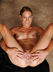 Horny housewife Alyssa Dutch from AllOver30 stretching her pussy