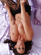 31 year old Lisa Sparkle slide out of her black lingerie and spreads