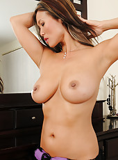 Exotic MILF Trisha spread her mature silky legs clad in black fishnets