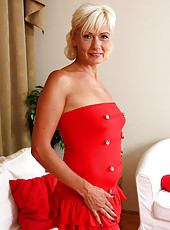 54 year old houswife Katie Hood looking elegant in her sexy red dress