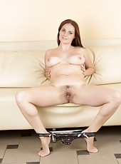 Busty Anilos milf Leya loves to rub her hairy pussy for you