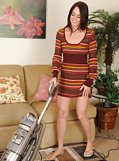 Tall and slim Jasmine M from AllOver30 strips after doing housework