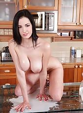 Babe Rubs Her 38C Titties In Milk