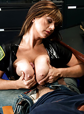 Officer Angelina On The Boob Beat