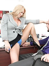 Blond bigtits bossy horny babe fuckes her employee in her office