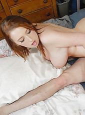 Horny big juicy tit babe sucks cock and big round   ass bouncing up and down