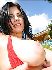 This sexy brunnette is rubbin that tight pussy down outside by the pool