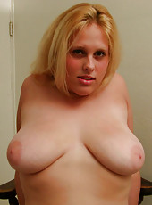 Plump blonde amateur gets some cock before cumming on her tits