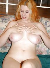 Blonde pale cutie fingers her snatch