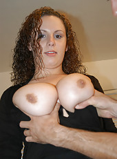 Busty bueaty with a great ass gets cum all over her tits