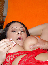 Sexy big boobed babe in her red undies gets her first facial