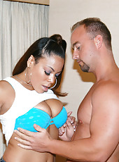 Tanned homey sucking the cock in her gstring