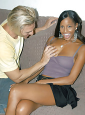 Tall ebony with long straight hair gets it pulled during a fuck fest