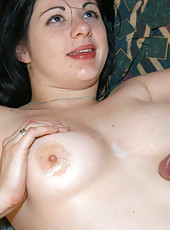 Pale brunette babe getting a hard fuck