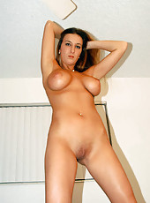 Busty euro babe pinches her own nips trying to get her off