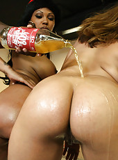 Hot bitches with big round asses get rock hard Xmas gift from black stud