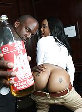 Hot black ass booty slut takes huge cock up her ass