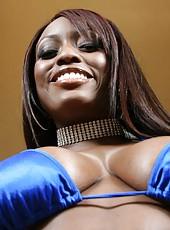 Busty ebony Jada Fire shows off her big round ass