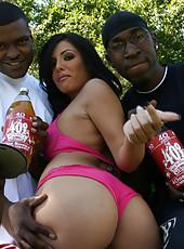 Big booty Lorena Sanchez bounces on a big black cock
